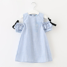 2017 New summer Girls Dresses Kids Blue and white Stripe Child Bare Shoulder Cotton navy style mini lantern sleeve Clothing