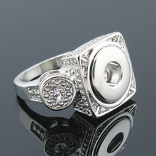 Vintage DIY OEM ODM 4 size snaps rings elegant crystal metal buttons ring fit 12mm xinnver snap buttons  women men ZH036