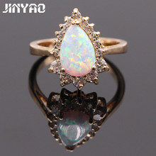 JINYAO Beautiful Simple Waterdrop White Fire Opal AAA Zircon Champagne Gold Color Ring For Women Bridal Fashion Jewelry
