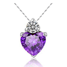 SHUANGR 1 PC 3 Colors Top Fashion Class Women Girls Lady Heart Crystal Purple Maxi Statement Pendant Necklace New Jewelry