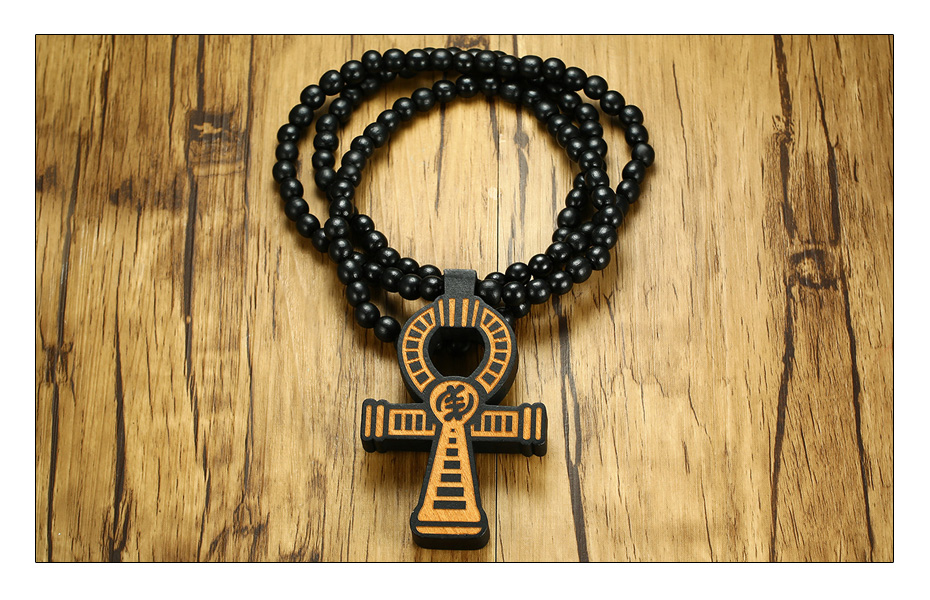 Meaeguet Carving Ancient Egypt Ankh Pendant Necklace For Men Amulet With 8mm Wood Beads Chain Length -90CM (2)