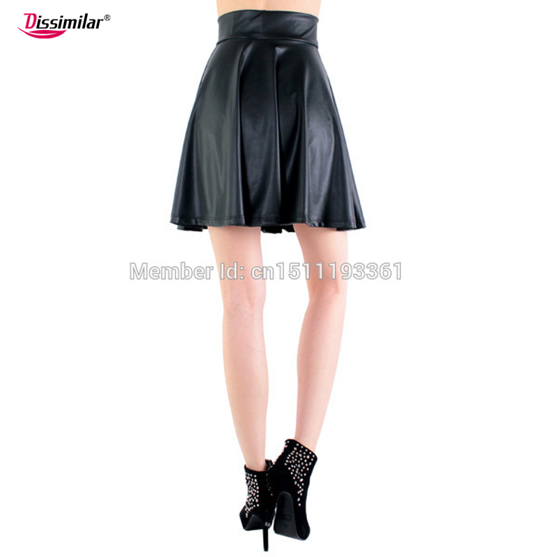 free shipping new high waist faux leather skater flare skirt casual mini skirt above knee solid color black skirt S/M/L/XL 12