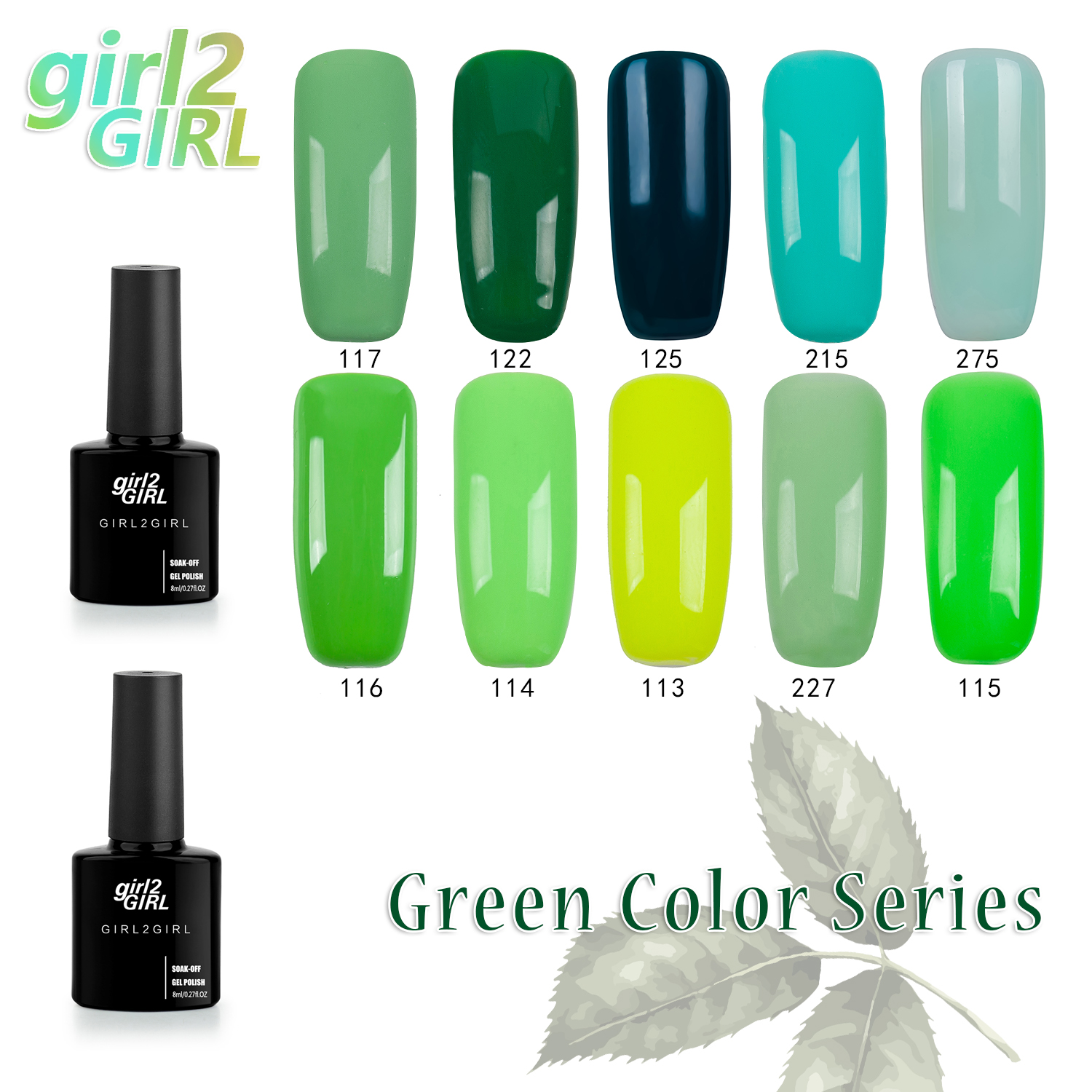girl2GIRL Gel UV LED Lacquer Polish  Long Latest Soak Off  Manicure 8ml  280 Colors Super shining Gel Nail Polish GREEN set