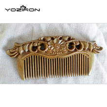 YOZIRON Handmade green sandalwood double sided carving wood comb Natural Head Massage hair brush hair care flower style Y019(China)