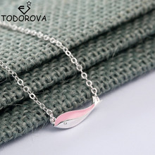 Todorova Sea Animal Fan Ocean Souvenir Retail Silver Pendant Necklaces for Women Fashion Pink Enamel Dolphin Charm Necklace(China)