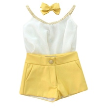 2017 Summer New Style Fashion Kids Girl 2pcs Sets White Sling Chiffon Vest  + Yellow Shorts Children Clothes