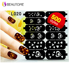 Reusable DIY Hollow Shape Manicure Fingernails Nail Stickers Nail Manicure Template Image Stamp 12 Tips/sheet Durable Material(China)