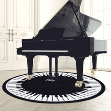 White and Black Piano Round Rug 3D Printed Carpets for Home Living Room 80/100/120cm Modern Keyboard Design Rugs Bape Mat Brand