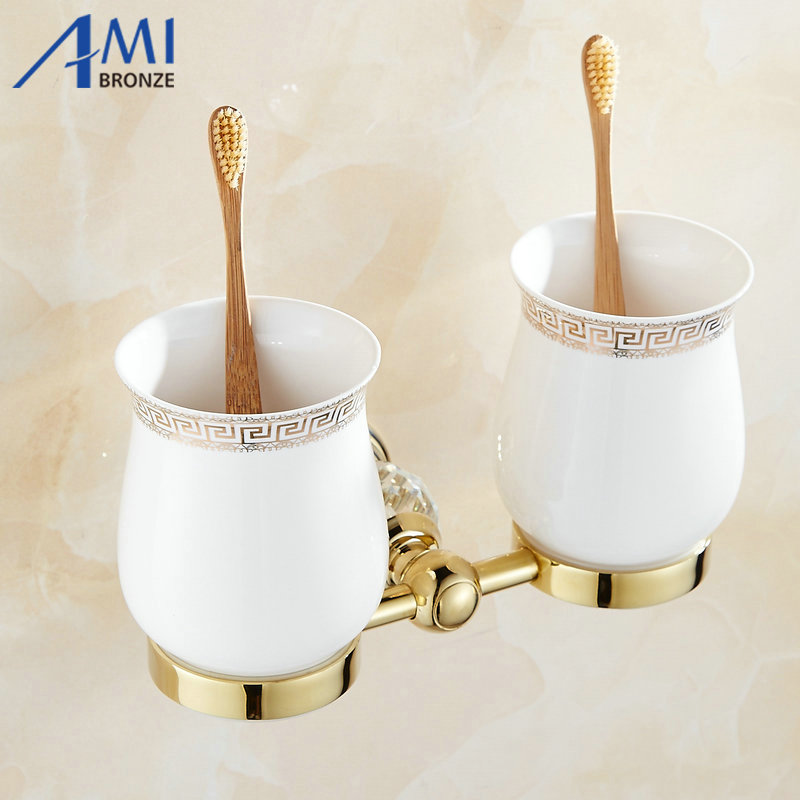 61 Crystal Series Golden Polish Copper Toothbrush Double Cup &amp; Tumbler Holders Continental Bathroom Accessories Cup Shelf<br>