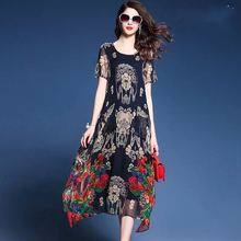 Elegant Floral Print Long Dresses Womens Short Sleeve Silk Chiffon Dress Summer Vestidos High Quality Loose O-Neck Brand Clothes(China)