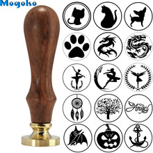 Mogoko 1pc Vintage Brass Head Wooden Handle Dragon Wax Seal Stamp Letter Card Decor Gift Different Pattern Cat/Dog/Halloween Bat(China)
