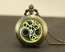 Steampunk UK drama doctor dr who tardis time vintage Necklace 1pcs/lot bronze silver Pendant jewelry pocket watch chain mens man(China)