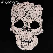 Misaya White Embroidery Skull Lace Cotton Fabric Applique for Costume Decor Lace Patch Sewing Trims 1pc 28cm*19cm