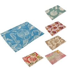 Cartoon Small Crab Printing Placemat Linen Napkins Succulent Plant Patterns Cotton Cloth Placemat Tea Towel Table Napkin