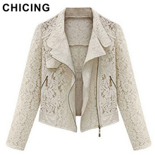 CHICING Long Sleeves Hollow Lace New Summer Autumn Fashion Beige Black Crop Casual Jacket Outerwear Size S- XL B1563922