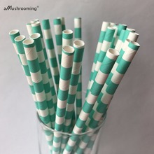 25 Paper Straws Aqua Blue Robin Egg Blue horizontal sideways Stripe Print favor Great in Mason Jar Mugs with Daisy Lids!(China)