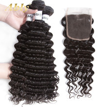 Ably Hair Brazilian Deep Wave Bundles With Closure Human Hair Weft 3 Bundles With 4*4 Free Part Closure 100% Remy Hair No Tangle(China)