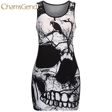 Buy Chamsgend Newly Design Women Punk Style Skull Print Sexy Tight Short Mini Club Party Dress Plus Size Sleeveless Sundress 170622 for $6.99 in AliExpress store