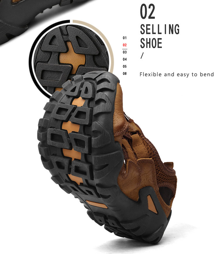 BACKCAMEL 2018 Summer New Sandals for Men Fashion Baotou Beach Slipper Sandals First Layer Leather Wear Casual Men's Shoes Hot 11 Online shopping Bangladesh