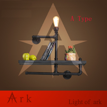 ark light  Industry Loft RH Creative Retro Bookshelf Wall Lamps Water Pipe with Wood Shelf for Cafe Restaurant Decoration-A TYPE