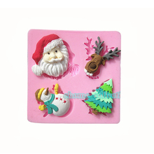 Xmas Series Snowman Reindeer Silicone Mold Fondant Cake Decorating Tools Sugarcraft  Soap Mould Baking Kitchen Accessories