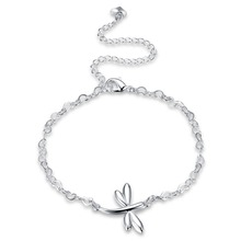 Fashion Women's 925 stamped silver plated Chain Foot Jewelry Ankle Bracelet With Dragonfly Foot Jewelry de Prata Gift To Ladies(China)