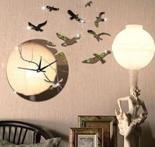 3D Seagull Flying in Sunset Art Mirror Clock Large Decorative Wall Clock Modern Design Bigger Space for your House Wanduhr(China)