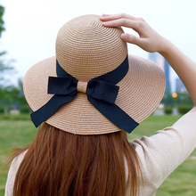 HT1155 Hot Fashion Summer Women Hats Korea Style Black Ribbon Bow Wide Brim Hats Ladies Solid Straw Bucket Hats Female Beach Hat(China)
