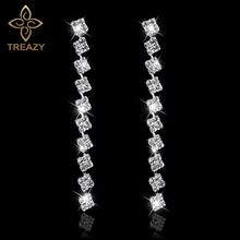TREAZY Squares Shape Bridal Long Earrings Diamante Silver Color Rhinestone Crystal Dangle Earrings For Women Wedding Accessories(China)
