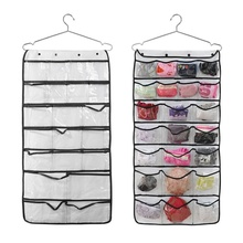 42 Pockets Transparent Door Hanging Bag Shoes Rack Hanger Storage Tidy Organizer Home Dual-sided Hang Storage Bag