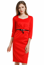 Blooming Jelly Square Collar Three Quarter Sleeve Dress Red Package Hip Dress Sheath Office Work Women Summer Dresses vestidos