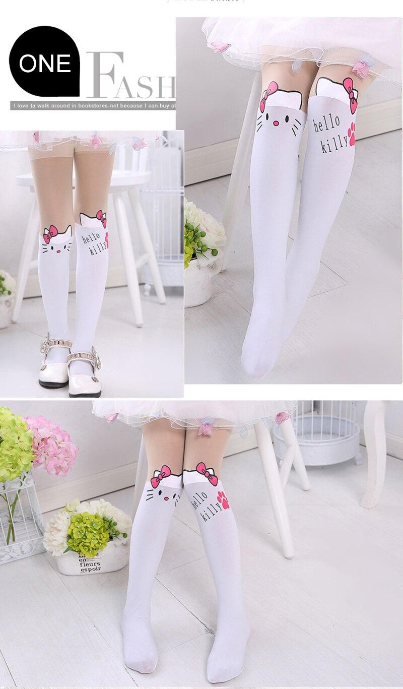 Summer Baby Kids Girls Thin Leggings Knee Cute Cartoon Patchwork Velvet Stocking white Cartoon Kitty Cat Leggings 3-9Y 10