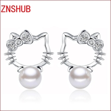 New Fashion Silver plated Shambhala Super Flash Crystal Stone Imitation Pearl Earrings For Women Hello Kitty jewelry