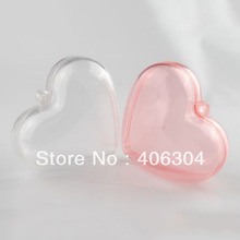Free shipping,8cm transparent clear hanging heart candy box ball ,clear plastic christmas ornaments, DIY item(China)