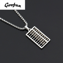 2017 New hip hop  Goofan Abacus Pendant Necklace Stainless Steel Fashion Jewelry For Men Women Gift STN242