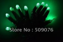 Free shipping 100pcs(50pairs)Flashing sequins Gloves Glow 7 Mode LED Rave Light Finger Lighting Mitt Hallowmas Party Decoration(China)