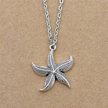 New Fashion Boho Vintage Sea Animal Marine Organism Antique Silver Sea Starfish Pendant Star Necklace Unique Gifts Jewelry