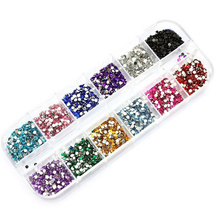 New Mix 12 Color 2mm Circle Beads Nail Art Tips Rhinestones Glitters Nail Supplies Acrylic UV Gel Gems Decoration with Hard Case(China)