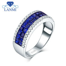 LANMI OFFCIAL Fine Jewelry Solid 14Kt White Gold Men Band Natural Blue Sapphire Diamond Engagement Ring for Husband Loving Gift(China)