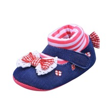Ephex 2017 Kids Shoes Blue Lace Floral Embroidered Butterfly-knot Soft Shoes Newborn Baby Walking Toddler Shoes(China)
