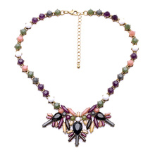 Exotic Celebrity Jewelry Fashion Mix Color Pendants Women Beads Chain Necklace Retail Wholesale