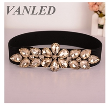 Vanled Retro Ladies Rhinestones Jeweled Belt 2017 Summer Women'S Belt Crystal Waist Trainer Leather Riem Belt Cinturon Mujer