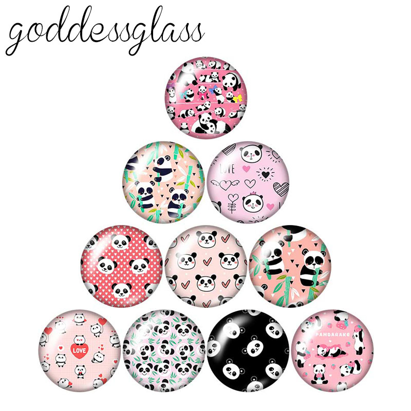 Lovely Cartoon Panda Cute 10pcs mixed 12mm/18mm/20mm/25mm Round photo demo glass cabochon flat back Making findings
