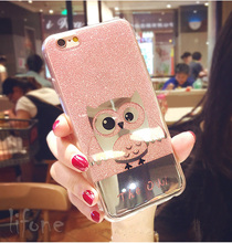 Kerrzil Shining Owl Bling Glitter Hard Phone Case For iPhone 7 6 6S Plus Cartoon Animals birds Cover Back Coque Capa lina(China)