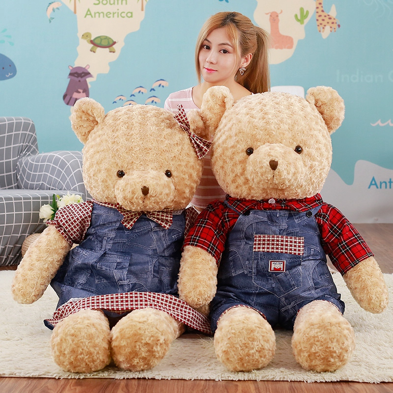 70cm new lovers bear Stuffed Soft Plush Toys Teddy Bear cowboy clothing teddy bear Children's Gifts Factory Wedding gift(China (Mainland))
