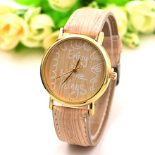 Fashion enjoy the everythings wooden Watch Women Leather Band Analog Quartz Movement Wrist Watch moda mujer 2017