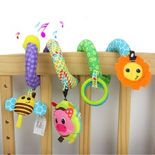 Infant Baby Distorting Mirror Bed Bell Toys Cot Stroller Crib Soft plush Lion Bee Cattle Pig Plush Teethers Rattles Baby Toys