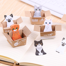 5PCS/lot Sent At Random Bookmark Mark Tab Memo Sticky Notes Cute Cat Memo Pads Stationery Gift