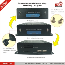 DTY 4 channel H.264 3G GSM mobile dvr kit with gps 3g , S204-3G set ( dvr+ 2 cameras+2 extension cable)