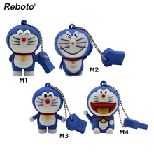 Reboto USB Flash Drive 64GB Doraemon Pen Drive 4GB U Disk 8GB Memory Stick 16GB Flash Stick 32GB Mini Cat Pendrive Gift 2018(China)